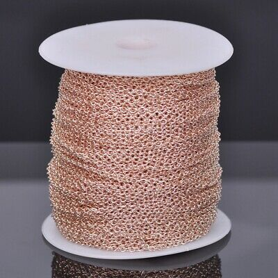 100m 3x2.5mm Rose Gold Plated Solid Link Cable Chain Jewelry Making Necklace DIY