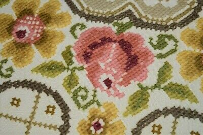 Victorian Rose Wreath! Antique German Spring Wool Round Tablecloth Plauener Lace
