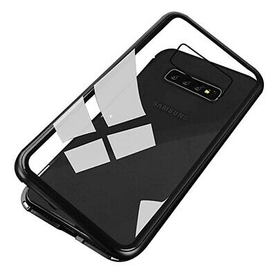 For Samsung Galaxy S10+ Plus Magnetic Adsorption Metal Case Tempered Glass Cover