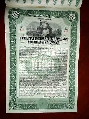 National Properties Company American Railways  $1000 Gold bond 1916