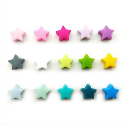 DIY  5pcs Food grade silicone star beads Baby Molar Teethers Baby Pacifier clip