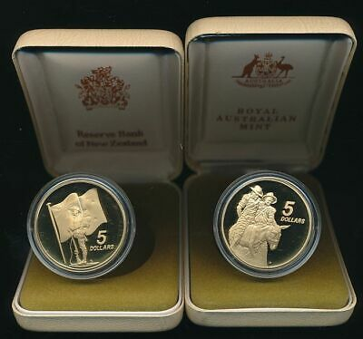Australia & New Zealand: 1990 $5 ANZAC Cat $75, Proof 2 Coin Set in RAM boxes.