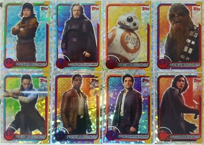 JOURNEY TO STAR WARS THE LAST JEDI Trading Card  HOLOGRAPHIC set of 32 + 8 GOLD