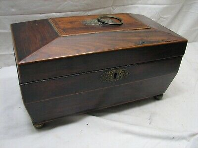 Antique Inlaid Wood English Breakfast Tea Caddy Server Box