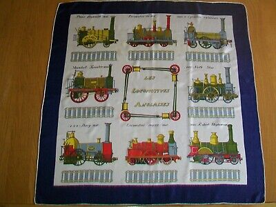 Les Locomotives Anglaises. Gorgeous French Railway Design Vintage Silk Scarf