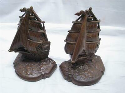 Pair Vintage Cast Metal Nautical Full Sail Ship Bookends, Galleon, Boat