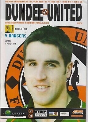 Dundee Utd v Rangers 11/3/2001 Scottish Cup quarter-final match programme
