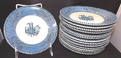 """Set of 14 Currier & Ives Royal Pottery Blue & White Steamship Saucers, 6"""""""