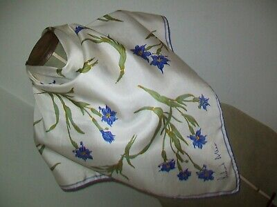 Richard Allan. Very Pretty Botanical Print Design Vintage Silk Scarf