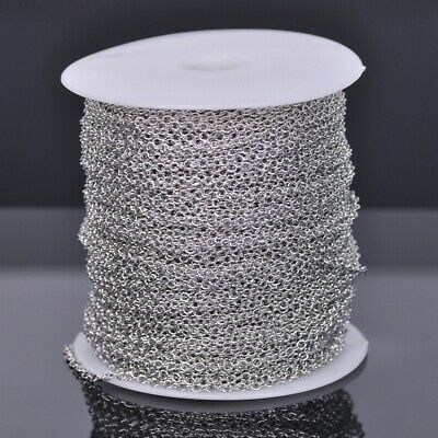 100m 8x6mm Platinum Plated Solid Link Oval Cable Chains Jewelry Making Necklace
