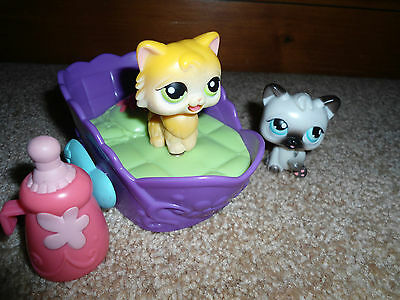 Littlest Pet Shop Magnetic Moving Feed Me Baby Bottle Cat Kitty Bed Lot