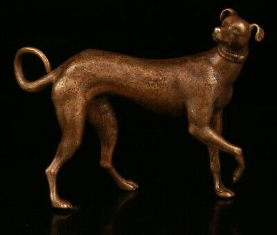 Chinese Bronze Hand Carving Dog Statue Gift Collection Cute Decoration