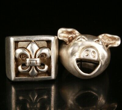 2  China Tibetan Silver Hand Carving Anchor Pig Ring Gift Collection Jewelry