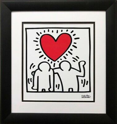 "Keith Haring ""KH03"" CUSTOM FRAMED Print Art POP Heart Love People Street"