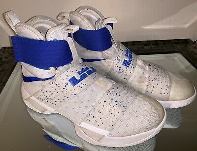 new styles 73d44 4d461 NIKE LEBRON SOLDIER 10 X White Blue Men's Basketball Shoes Size 7.5