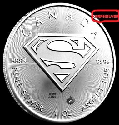 2016 Superman S-Shield  Canada Silver Coin {Unc}  1 Oz .9999 Fine Silver Bullion
