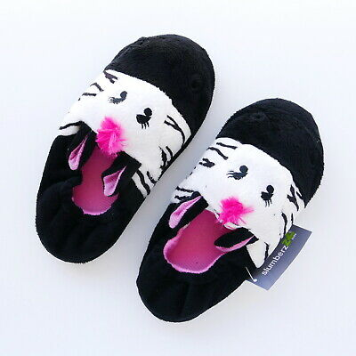 Girls Black White Pink Slippers Kids 11/12 13/1 With Pink Nose Ears Slumberzzz