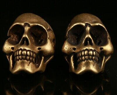 2 Chinese Brass Hand Carving Skull Statue Cool Decorative Collection