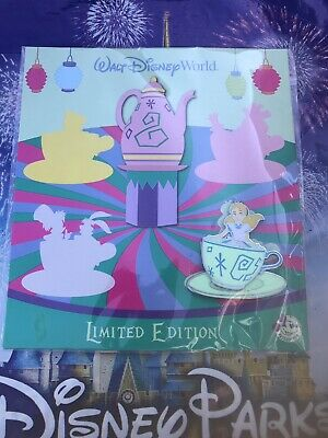 Disney World Parks Alice In Wonderland Teacup Passholder Pin LE In Hand