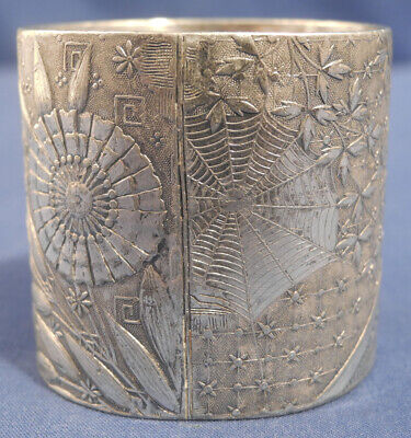 Antique Silverplated Napkin Ring Holder Spiderweb Ornate Floral Aesthetic Movemt
