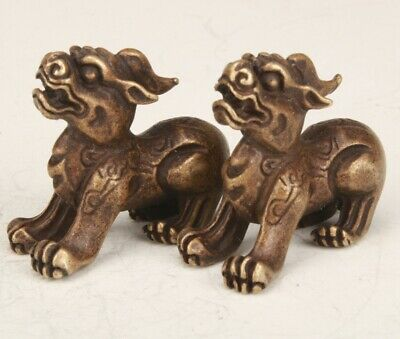 2 Chinese Bronze Hand-Carved Kirin Statue Collection Gift Decoration