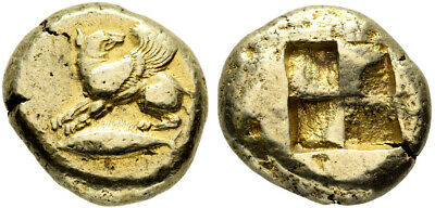 FORVM VF Kyzikos Mysia Electrum Stater Winged Dog over Tunny / Incuse Ex Rare