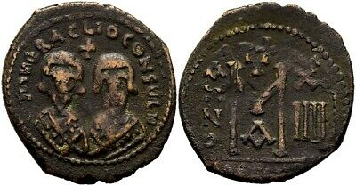 FORVM VF Byzantine Revolt of the Heraclii 608-610 Follis Overstruck