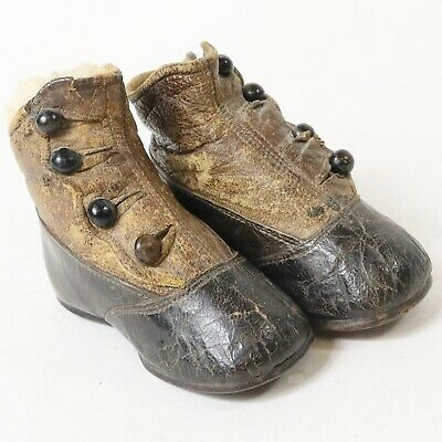 Antique Vtg Victorian Leather Baby Childs Button Boot Shoes