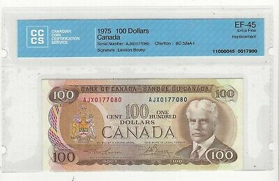 **1975**Law/Bou BC-52aA-i Canada $100 Note CCCS EF-45; SN: AJX 0177080 Repl.