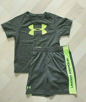 6e14dcc35add Ln Under Armour Toddler Boys Outfit Set Gray Yellow Shorts Sz 3T Heat Gear