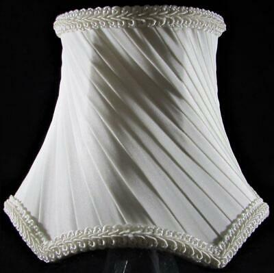 Elegant Clip On Chandelier Lamp Shade Ivory Color Diagonal Pleats Wire Frame