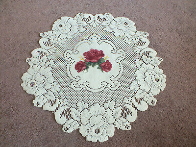 """Collectible Beautiful Heritage Lace Doily Off White Painted Rose 14 1/2"""" NICE"""