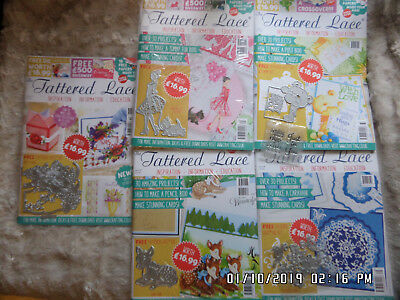 Tattered Lace Magazine Bundle Issues-35,36,37,38,51-Projects,dies,papers was £85