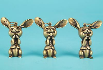 3 Unique Chinese Bronze Statue Pendant Solid Rabbit Mascot Collection