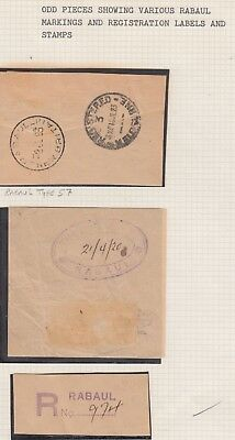 NEW GUINEA RABAUL Odd Pieces RABAUL MARKINGS and labels