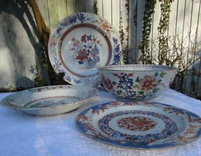 COLLECTION 4 ANTIQUE 18thC CHINESE KANGXI / QIANLONGPIECES - PLATES AND BOWL