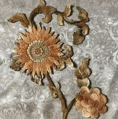 EXQUISITE 19th CENTURY VICTORIAN LARGE SILK APPLIQUÉ EMBROIDERY, REF PROJECTS