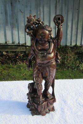Fine Antique Chinese 19thC Silver Inlaid Carved Figure of an Immortal