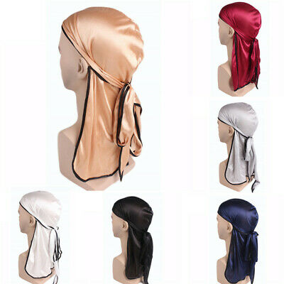 Womens Pirate Hat Durags Long Tail Headwraps Muslim Turban Cycling Chemo Hats