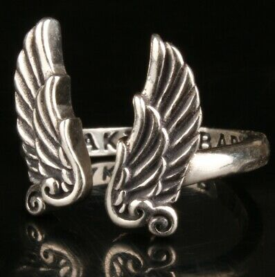 Chinese Silver Hand Carving Wing Ring Jewelry Gift Collection