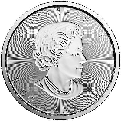 2018 $5 Canadian Maple Leaf One oz .9999 Fine Silver Round (SMBD18d)