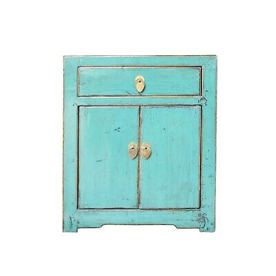 Oriental Distressed Light Teal Blue Lacquer Side End Table Nightstand cs4923