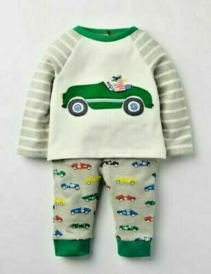 MINI Boden Baby Boys Fun SUPERSOFT Car Appliqué Play Set TOP PANTS BRAND NEW