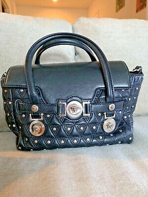 3b302df5 VERSACE BLACK LARGE Signature Medusa Tote Leather Shoulder Bag Authentic