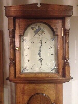 Edwardian Mahogany Longcase Grandfather Clock hand painted birds