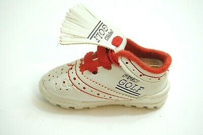 "Vintage Pro Golf Miniature Salesman Sample Leather Sneaker 4"" Long White And Red"