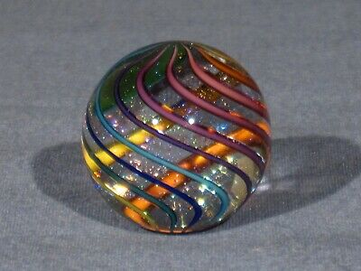 """Marbles: Hand Made Art Glass Alloway Dichroic """"Glitterball""""#290     1.1inch"""