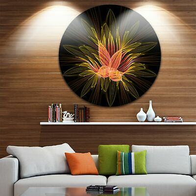 Designart 'Yellow Red Fractal Flower in Dark' Floral Abstract Art Large Disc