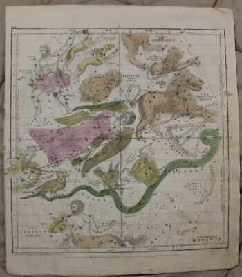 1835 The Visible Celestial Heavens Map For April, May, and June