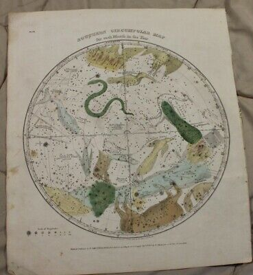 1835 Southern Celestial Circumpolar Map for Each Month of the Year